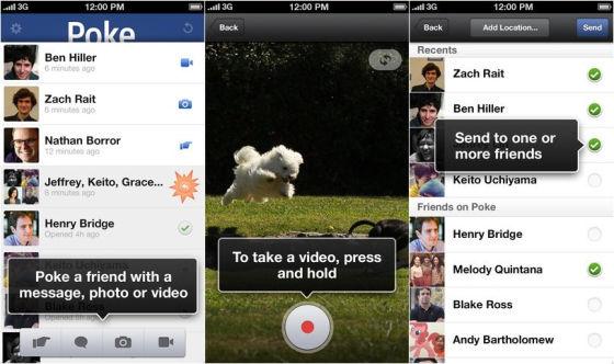 Facebook最新推出的移动IM应用Poke截图