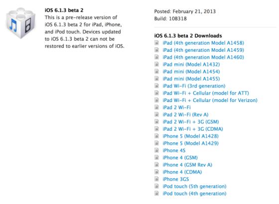 苹果发布iOS 6.1.3第二个测试版