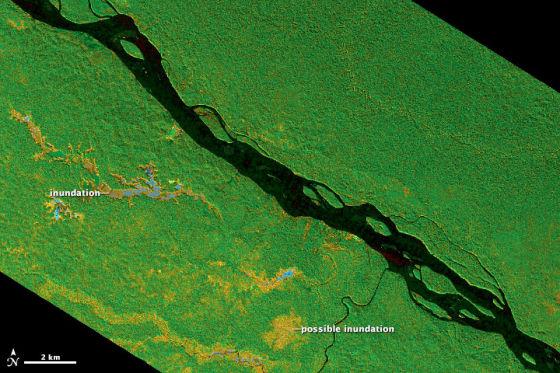 新浪科技讯 北京时间4月26日消息,美国国家航空航天局地球观测站(NASAs Earth Observatory)今日公布了一组雷达和卫星照片,展示了南美洲亚马逊流域的热带森林和湿地景象。   对地球科学家和生态学家来说,热带森林和湿地是最具吸引力和最重要的研究领域,但这也是一个困难的研究领域。因为无论对热带森林和湿地进行实地考察还是空中探测都是困难的。   在亚马逊河流域,许多森林地带有季节性或半永久性的洪水,而且位置偏僻,没有公路或通航河流。NASA喷气推进实验室的科学家布鲁斯查普曼(Br