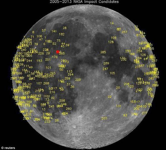 美国宇航局月球监控项目已捕捉到数百起流星体撞击月球事件。3月17日被一部望远镜捕捉到的这次撞击最亮。图中的红色正方形就是最近这次撞击事件的位置。