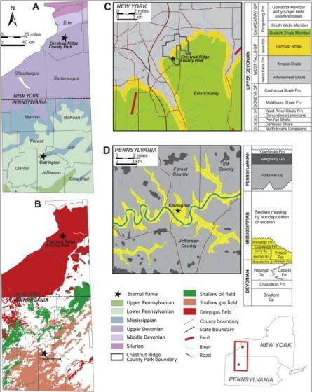 纽约州西部和宾夕法尼亚州西北部地质图展示了栗岭县公园永恒之火的位置。
