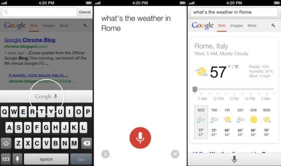 用户只需点击麦克风图标,说出希望搜索的短语,随后即可查看结果