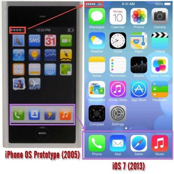 艾维团队当初设计的界面与iOS 7的界面