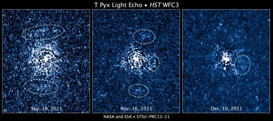 这三张图像均为哈勃空间望远镜拍摄,展示了从一颗爆发恒星喷发出的物质在其周遭空间堆积的三维结构。