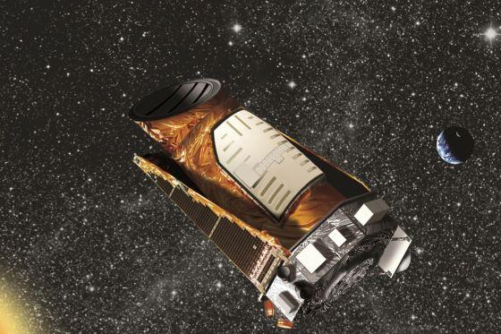 开普勒望远镜在太空运行的示意图