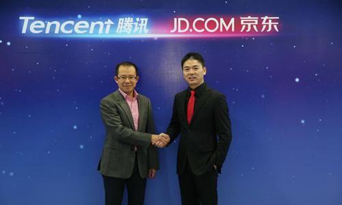 腾讯总裁刘炽平(左)与京东集团CEO刘强东(右)