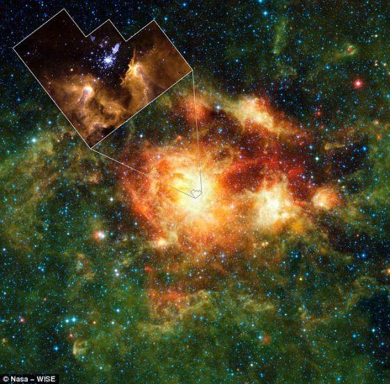 """广域红外探测器拍摄的一幅照片,展示了距地球2万光年的一个恒星形成云。这个云充满气体、尘埃和大型新生恒星。插入图展示了云的中央区域,是一个被称之为""""NGC 3603""""的星团"""