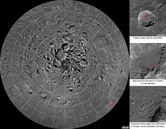 美国宇航局(NASA)近日将该局月球勘测轨道器(LRO)4年多来积累的图像数据进行处理,发布了一份月球北极地区的巨型合成图像,覆盖从月球北极到北纬60度左右的广阔区域,图像分辨率约为每像素2米