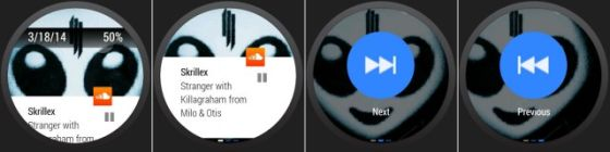 Android Wear可以直接使用手机音乐播放应用的按钮