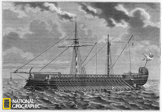 这张插图描绘的是雅典人的三列桨座战船