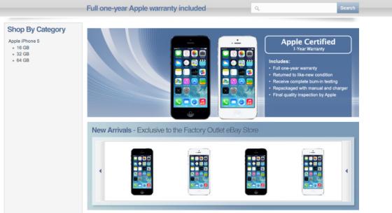 美国电子商务网站eBay上最近出现了一家专门销售翻新iPhone 5的网店