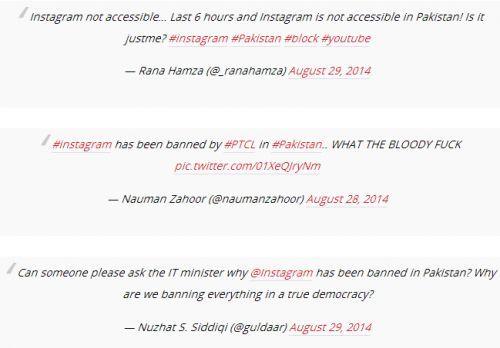 Twitter上有关Instagram在巴基斯坦被屏幕的消息