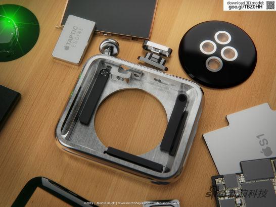 3D渲染制造Apple Watch拆解图01