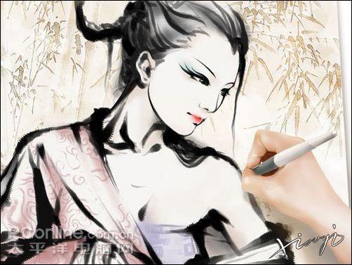 AdobePhotoshopCS3打造水墨风格美女