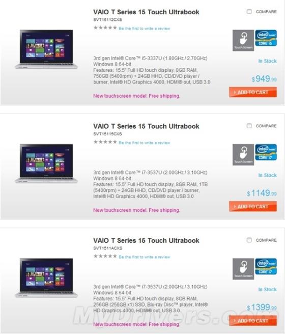 索尼触屏版T系列Ultrabook正式开卖
