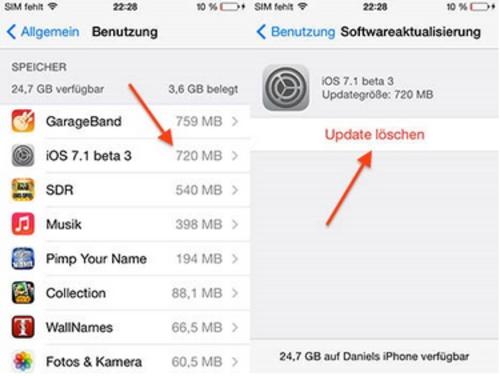 iOS7.1 beta3大跃进 可以删除OTA升级包