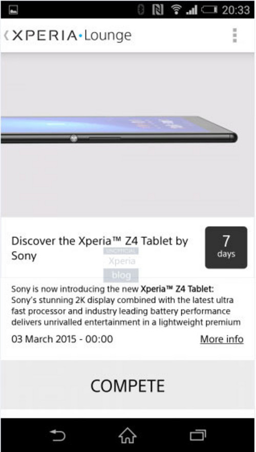 超薄三防2K屏幕 索尼Z4 Tablet意外曝光