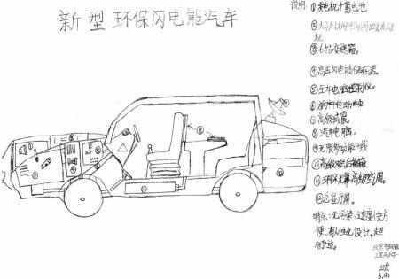 青少年创意设计大赛作品:新型环保闪电能汽车图片