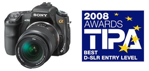 索尼α200获TIPA2008最佳入门DSLR奖!