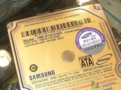 五年质保三星120GB笔记本硬盘320元