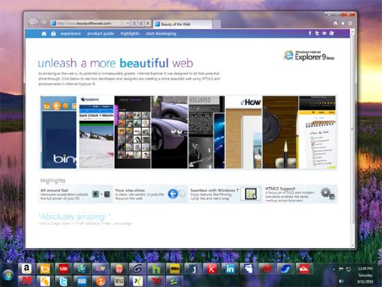 科技时代_微软发布IE9 beta 新增应用功能