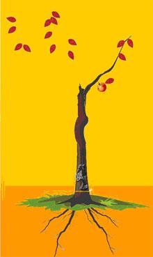 4、解释:树枝一支全又长,感情专一,配红绿叶见密果,忠贞之女,贵妇之命