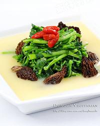 米汤汁浸羊肚菌西洋菜(组图)