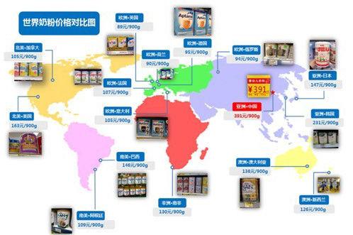 """中国妈妈绘制""""世界奶粉价格对比图"""""""
