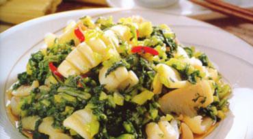 孕妇便秘食谱:雪菜炒鲜鱿