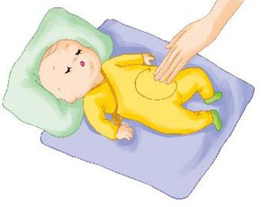 给宝宝腹部按摩可减轻吐奶
