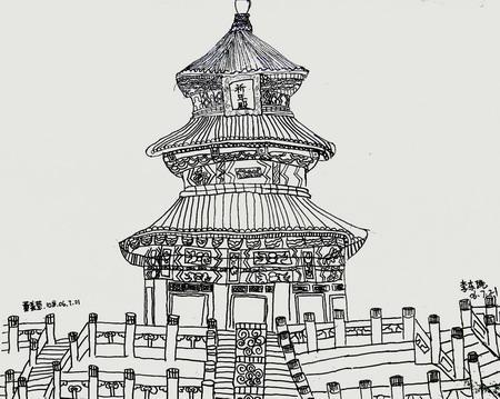 家乡的古建筑线描画