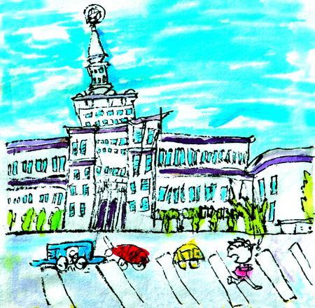 图为:《画北京地图-军事博物馆》水墨 肖新羽 9岁