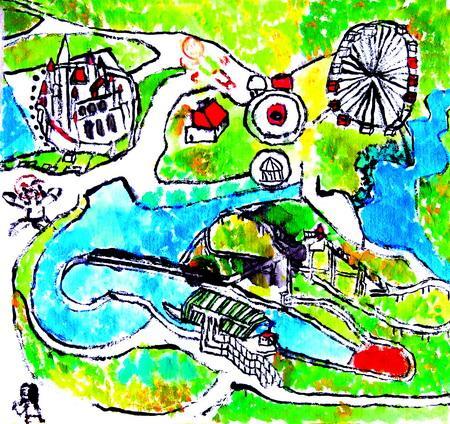 小班儿童绘画作品游乐园分享展示