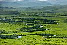 中蒙界河两岸绿毯风光