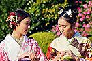 日本少女穿和服迎新春