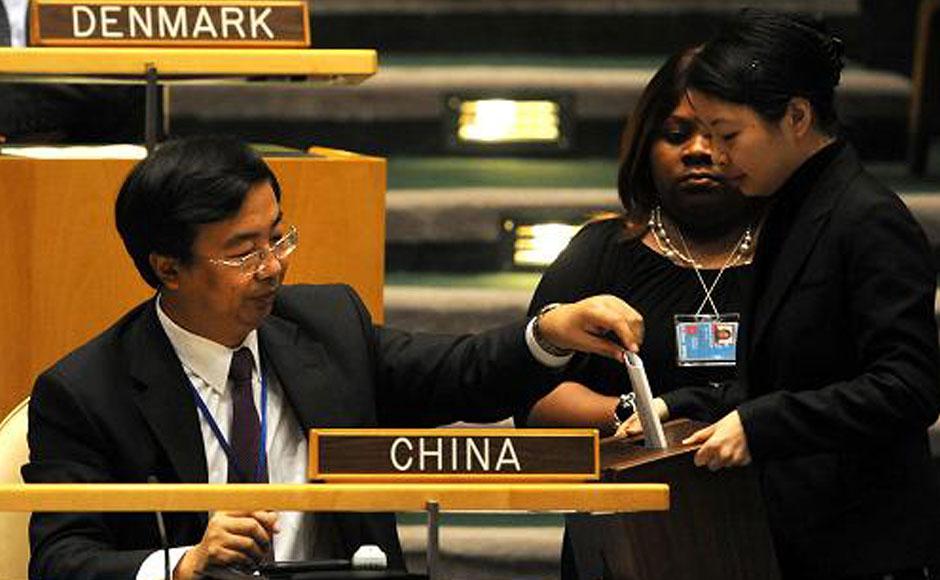 中国连任联合国经济及社会理事会成员国投票现场