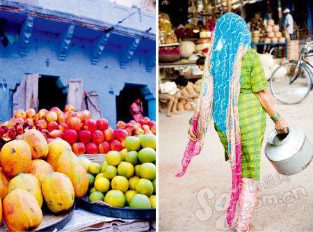 当地水果。印度女人的头巾很惊艳。