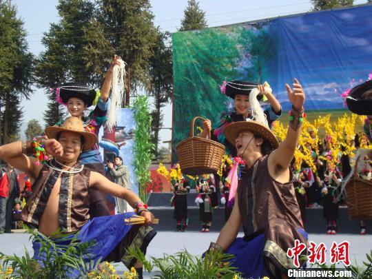 """阿昌族民众身着艳丽的服饰,和着象脚鼓、芒锣的节奏,载歌载舞,欢度""""阿露窝罗节"""" 。 杨洋 摄"""
