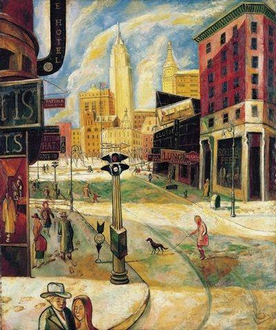 朱沅芷《欢乐节庆的百老汇》布上油画 121×101cm约1930-1940