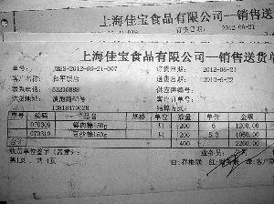 上海佳宝食品有限公司部分产品销往和平饭店的送货单。