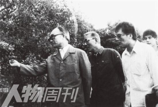 王岐山(右二)、王小强(右一)陪同杜润生到农村调查