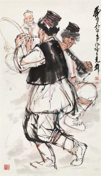 黄胄《塔吉克舞》 设色纸本 立轴 85×48成交价:218.5万元