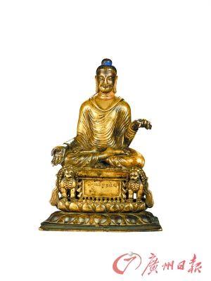 释迦摩尼 斯瓦特(7~8世纪) 高19.5厘米 青铜琍玛,眼睛嵌银,嘴唇嵌红铜,单体浇铸
