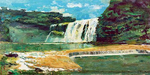 沙耆 黄果树瀑布 油彩 画布