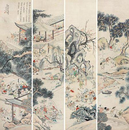 王素 百子嬉春图 设色纸本 四屏