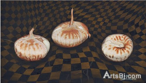 草间弥生《洋葱》(Onions),纸上油彩,35.9x59cm,1948