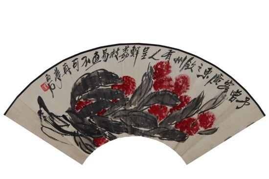 齐白石 《大利图》 18.5×52.5cm 设色纸本 扇面