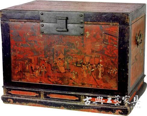图4 嘉靖年间 朱黑漆彩绘描金五子祝寿图衣箱