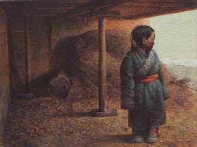 罗中立 《屋檐下的小孩》 油彩画布 76×101 cm