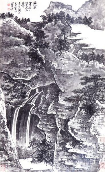 谢稚柳《绝谷茅亭》   纸本镜框 96×58cm 约5.1平尺